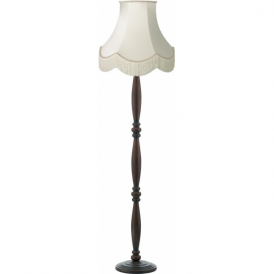 HAYWARD traditional dark wooden Victorian floor lamp with luxury fringed shade