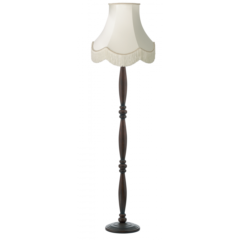 dark brown victorian wooden floor lamp with luxury fringed With floor lamp with fringed shade