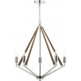 HOTEL modern ceiling light, polished nickel with wood detailing