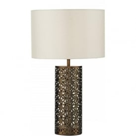 HYDE antique gold fretwork metal table lamp with shade