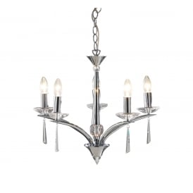 HYPERION 5 light chrome chandelier with crystal detailing
