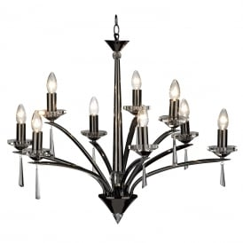 HYPERION 9 light black chrome chandelier with crystal detailing
