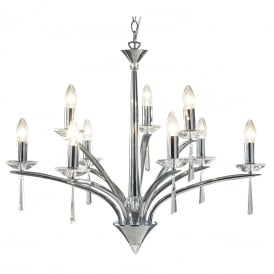 HYPERION 9 light chrome chandelier with crystal detailing