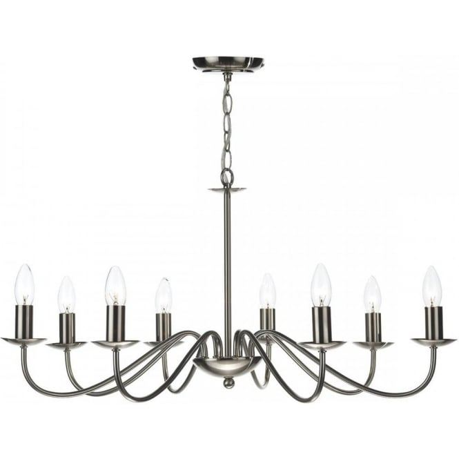 Irwin Satin Chrome Chandelier With 8 Candle Style Lights