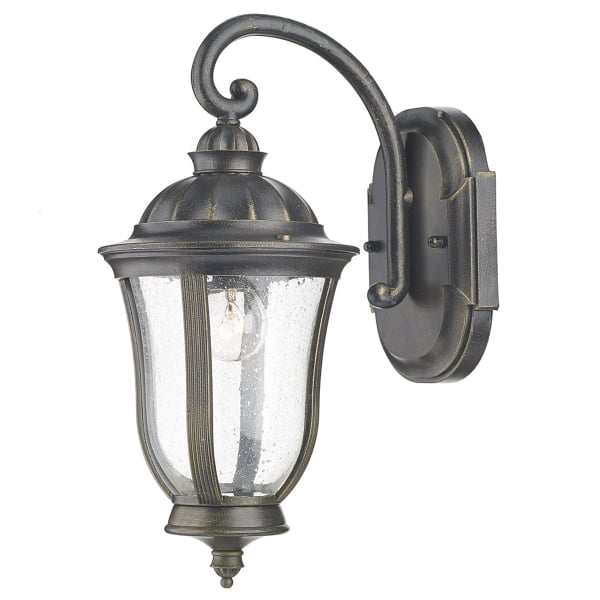 Traditional Garden Wall Lights : Black Traditional Garden Wall Light with Gold Highlights, IP44 Rating