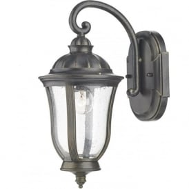 JOHNSON traditional garden wall lantern in black with gold patina