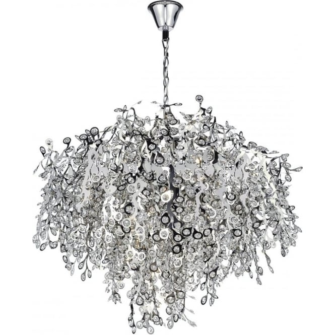 Modern Chrome And Crystal Chandelier Large Feature Light