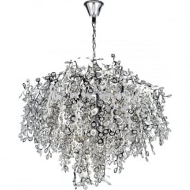 KONSTANTINA large modern chrome and crystal chandelier