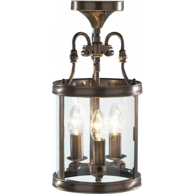 Lambeth Cast Antique Brass Lantern Dual Mount For Low