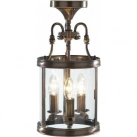 LAMBETH cast brass dual mount ceiling lantern, antique finish
