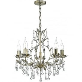 LAQUILA traditional antique gold and silver chandelier decorated with crystal