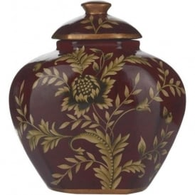 LEAF small ceramic jar, rich red with gold pattern