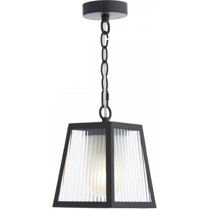 Outdoor Pendant Porch Light Uk: Rectandular Matt Black Outdoor Chain Lantern With Ribbed