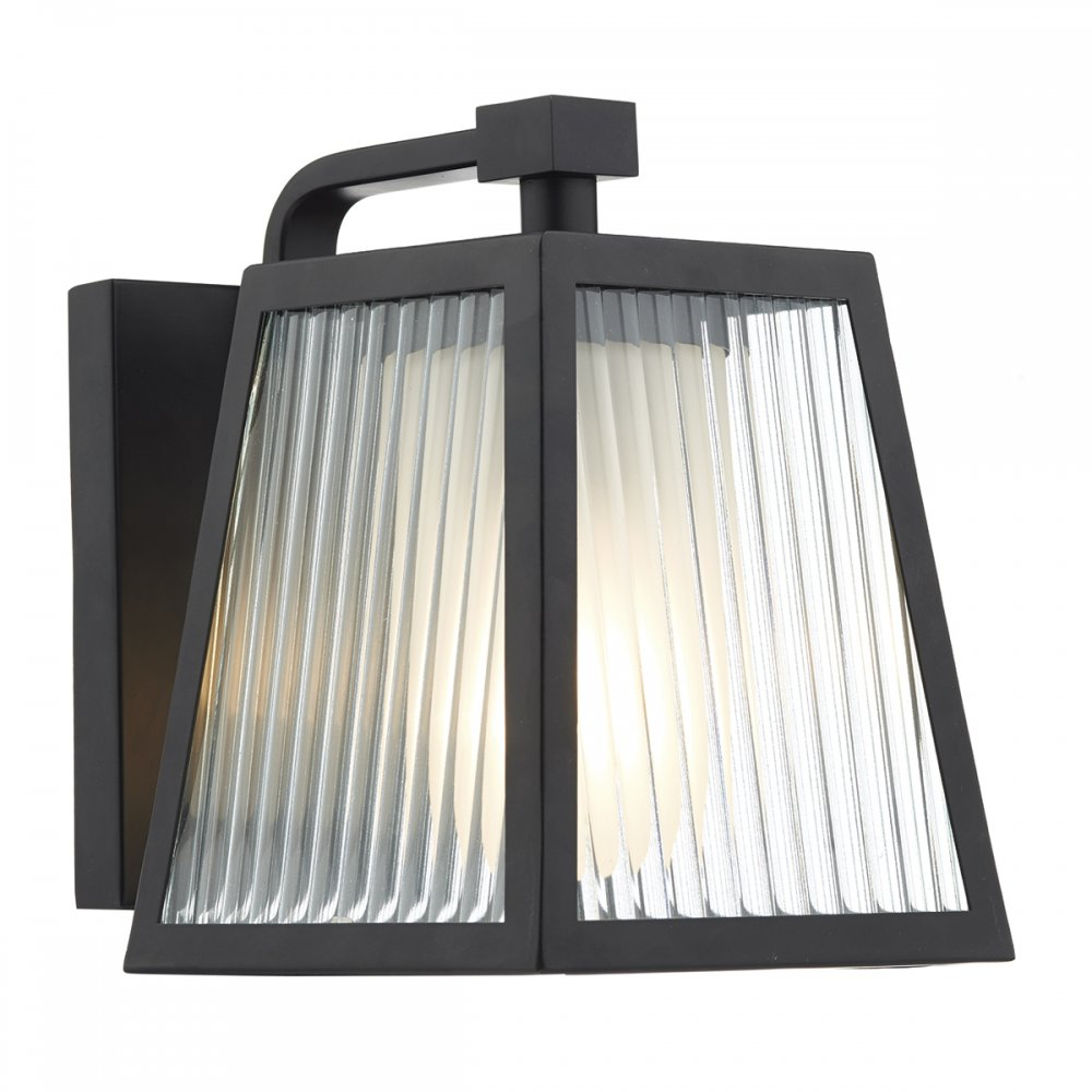 Ip 44 tapered matt black outdoor wall lantern with ribbed for Outdoor glass wall panels
