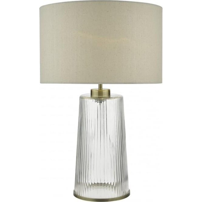 Vintage Glass Table Lamp With Natural Linen Drum Shade