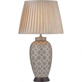 LOUISE ceramic base table lamp with faux silk shade