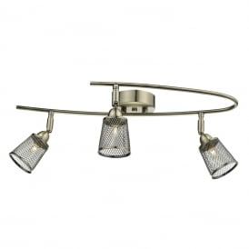 LOWELL 3 light curved semi-flush ceiling spotlight bar - antique brass
