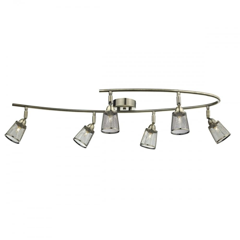 curved set of 6 spotlights antique brass with adjsutabale