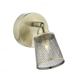 LOWELL single adjustable wall spotlight with metal mesh shade - antique brass
