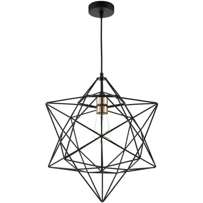 Modern Ceiling Pendant With Black Star Shaped Metal Frame