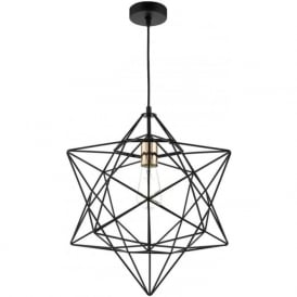 LUANDA open frame matt black star pendant with copper bulb holder
