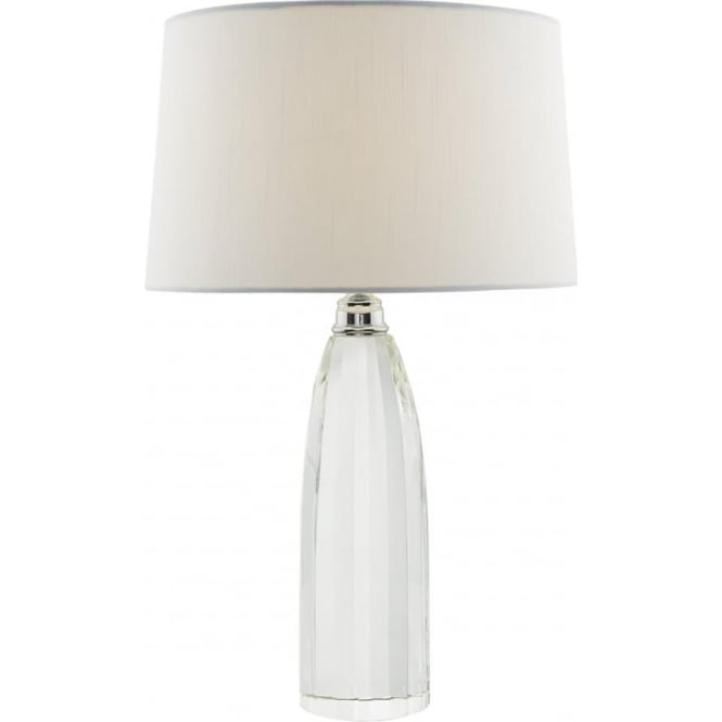 Crystal Table Lamp With Fine Polished Lines And Ivory Faux Silk Shade