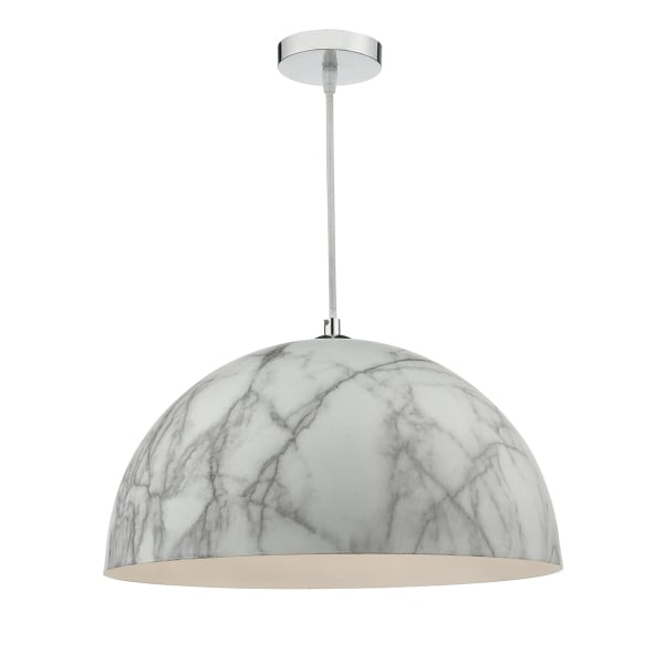 Ceiling Pendant With Pale Grey Marbled Shade And Long