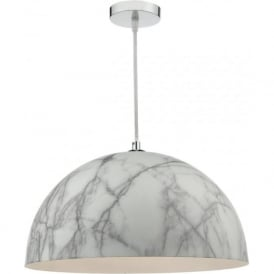 MAGNUS pale grey marbled ceiling pendant on chrome fitting with braid cable
