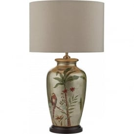 MAKITI Chinese style ceramic base table lamp with colourful bird motif