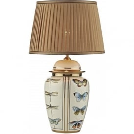 MEWS temple jar table lamp with butterfly and dragonfly motif