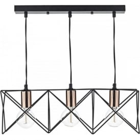 MIDI open black geometric frame ceiling bar pendant with copper detail