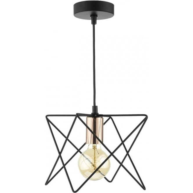 Black Wire Frame Pendant Light Exposes Bare Bulb And