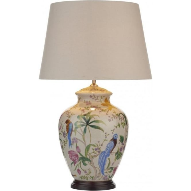 Table Lamp Complete With Shade Decorated With Birds And