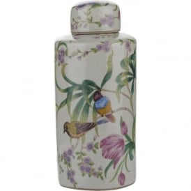 MIMOSA ceramic jar with a floral and bird design (large)