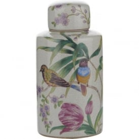 MIMOSA ceramic jar with a floral and bird design (small)
