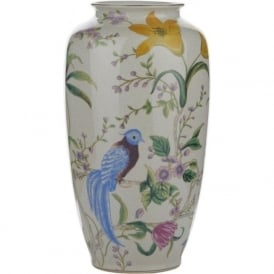 MIMOSA ceramic vase with a floral and bird design