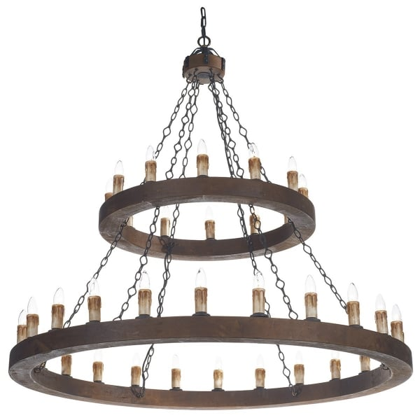 Two Tier Me val Wooden Chandelier Cartwheel Style with