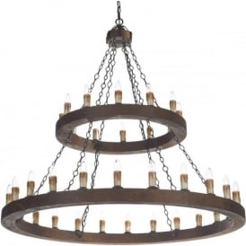 MINSTREL large Medieval wooden chandelier with 36 lights