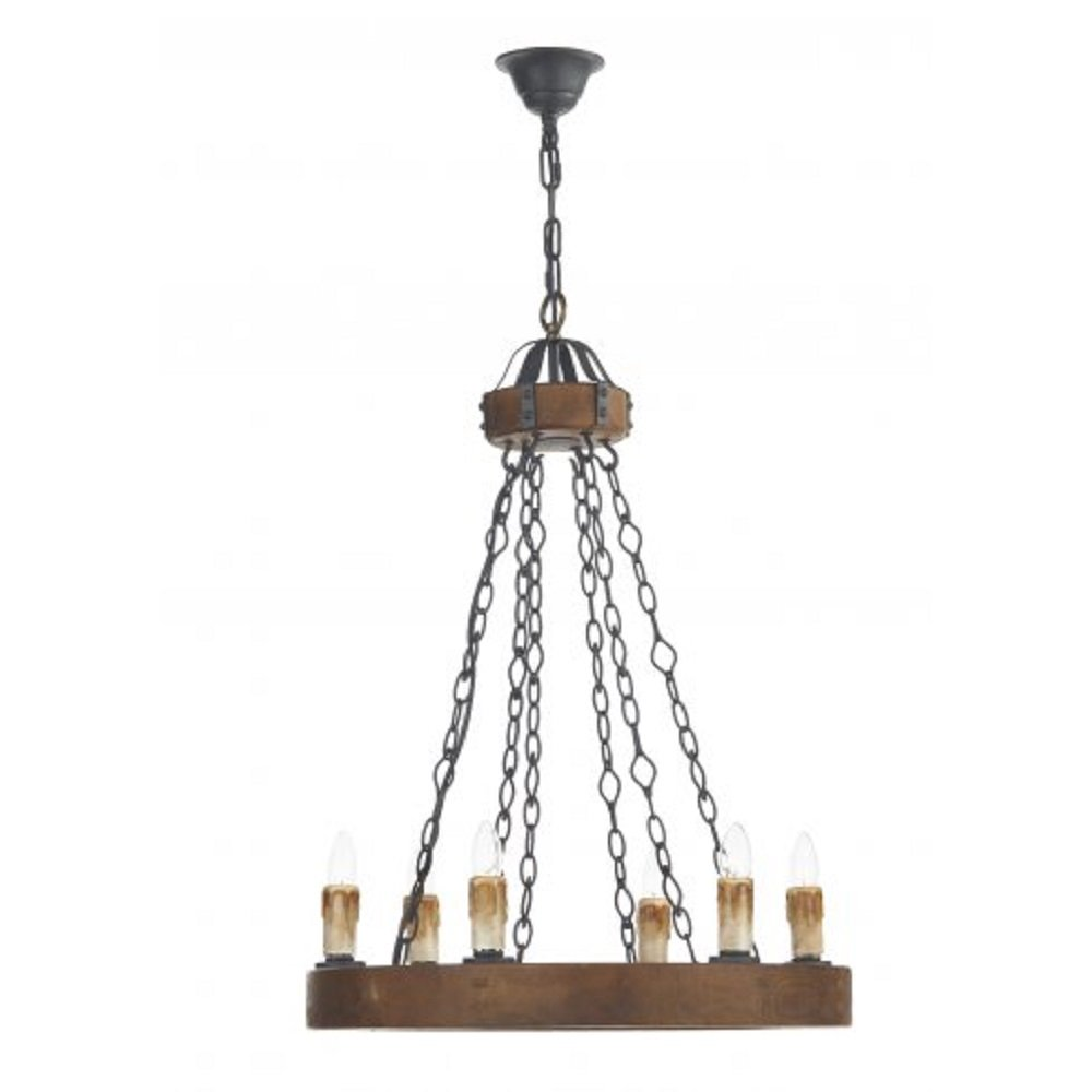 Tudor style wooden ceiling chandelier light with 6 candle for Wood pendant chandelier