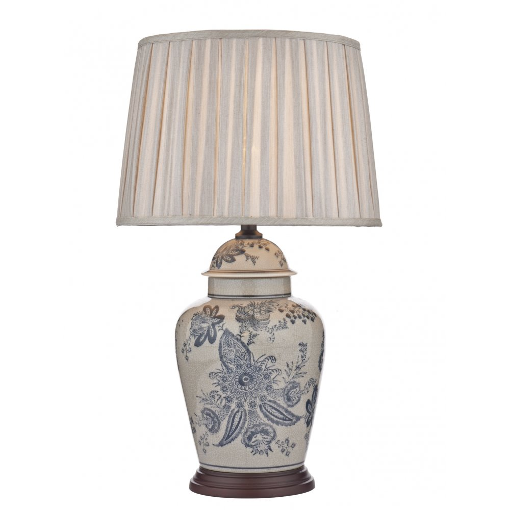 Ceramic Table Lamps : Oriental blue floral pattern ceramic table lamp with taupe