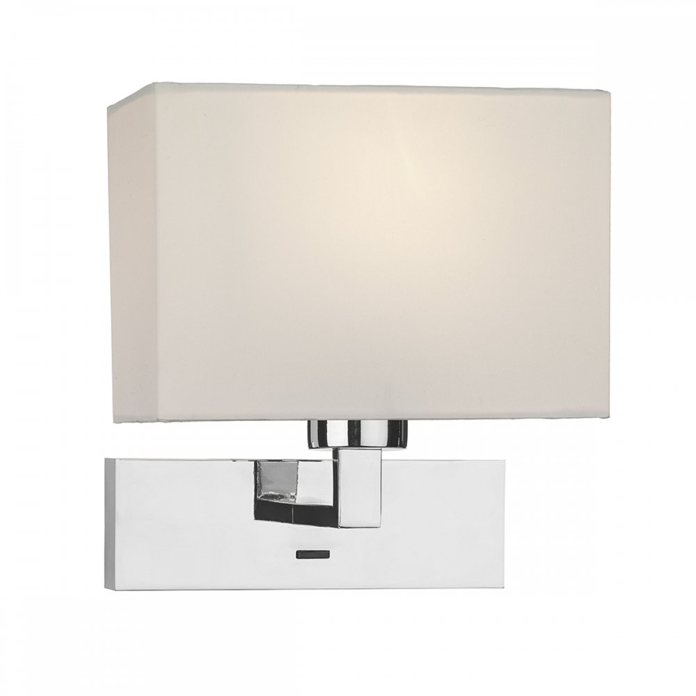 Modern Hotel Bedside Wall Light with Rectangular Ivory Cotton Shade