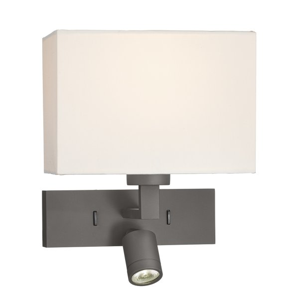 Bronze Over Bed Wall Light with LED Reading Light for Stylish Hotel Look