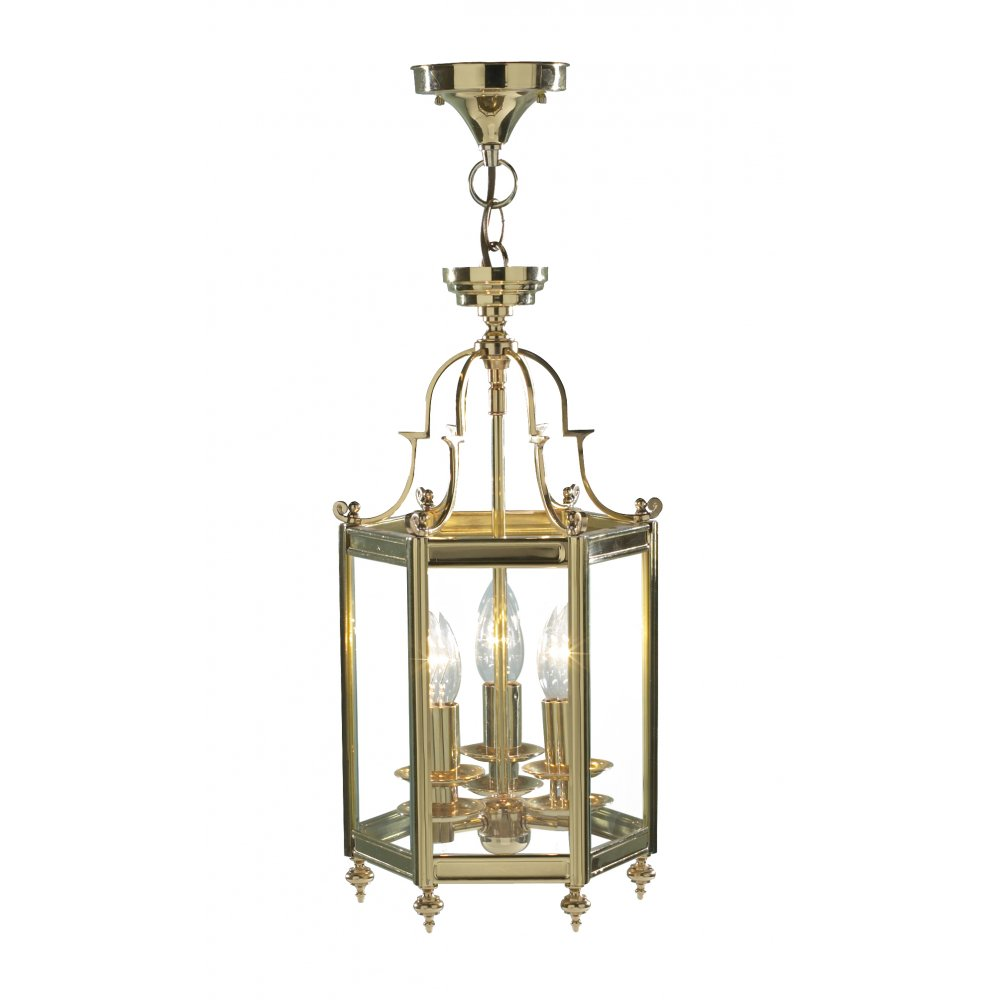 Foyer Lighting Traditional : Victorian gold hall lantern in polished cast brass with