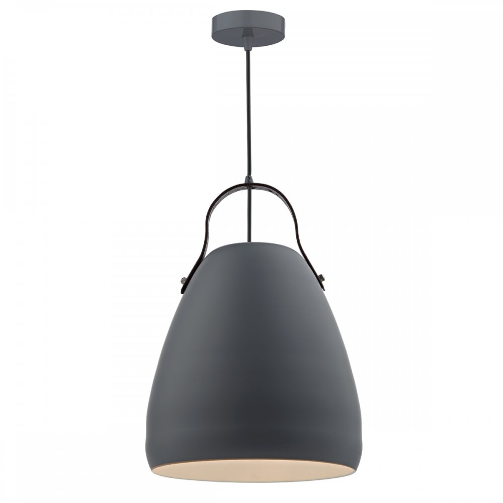 Matt Grey Hanging Ceiling Pendant With Leather Strap Detail