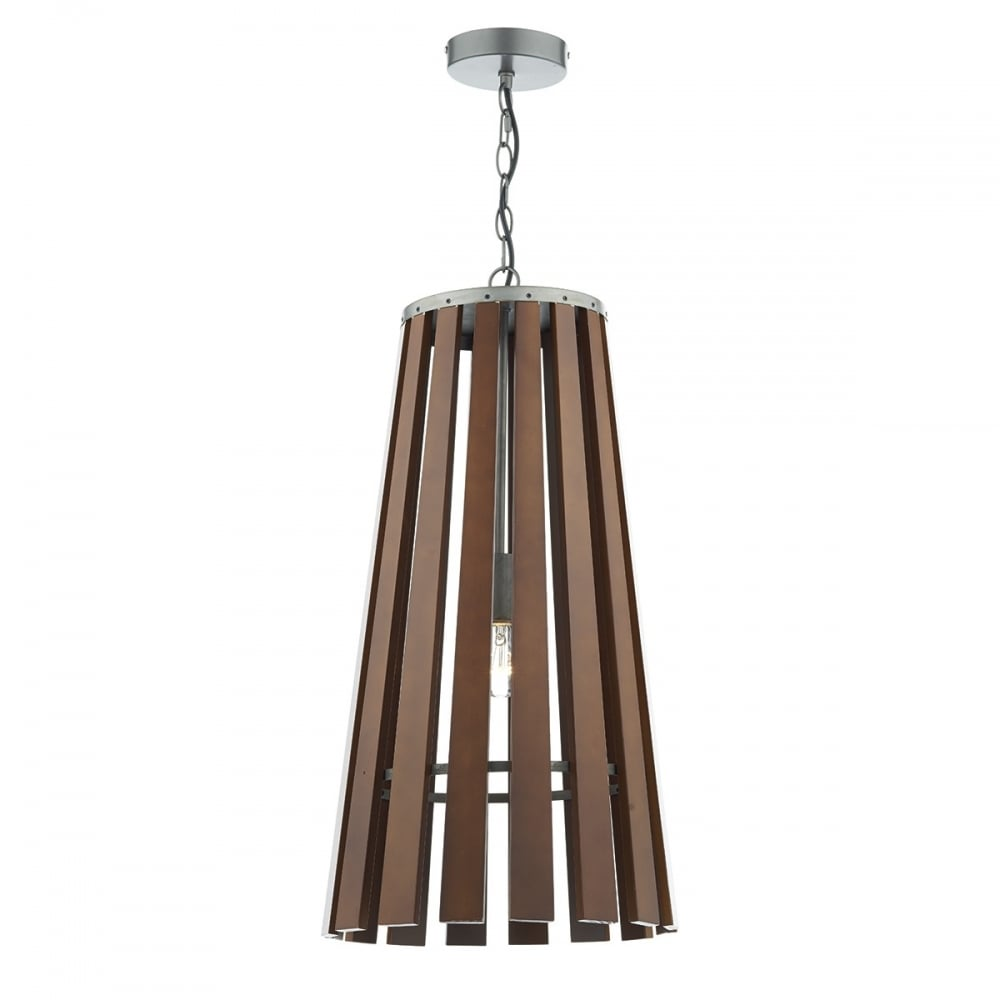 Contemporary dark wooden slatted ceiling pendant light for Pendant lighting for high ceilings