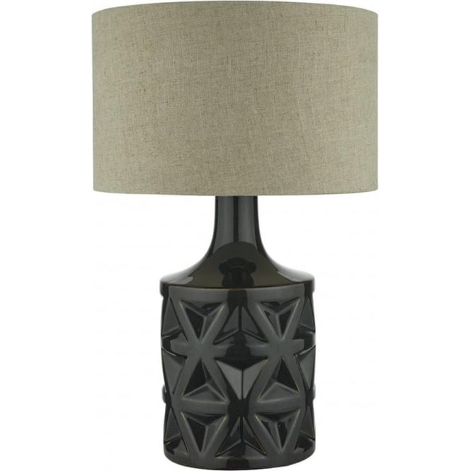 Dark green ceramic table lamp with bold textured 3d pattern and shade munro dark green ceramic base table lamp with shade aloadofball Images