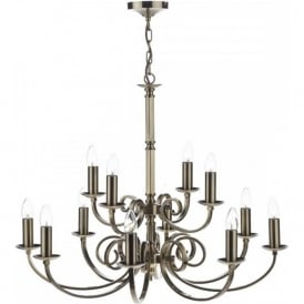MURRAY large 12 light traditional antique brass chandelier