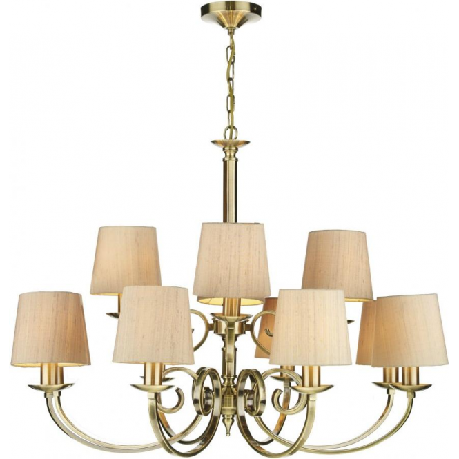 Murray Large 12 Light Traditional Antique Brass Chandelier With Shades