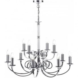 MURRAY large 12 light traditional polished chrome chandelier