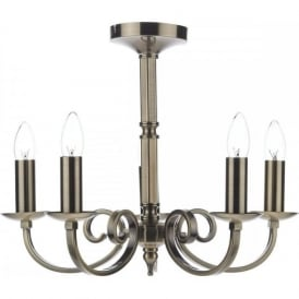 MURRAY traditional 5 light antique brass dual mount chandelier